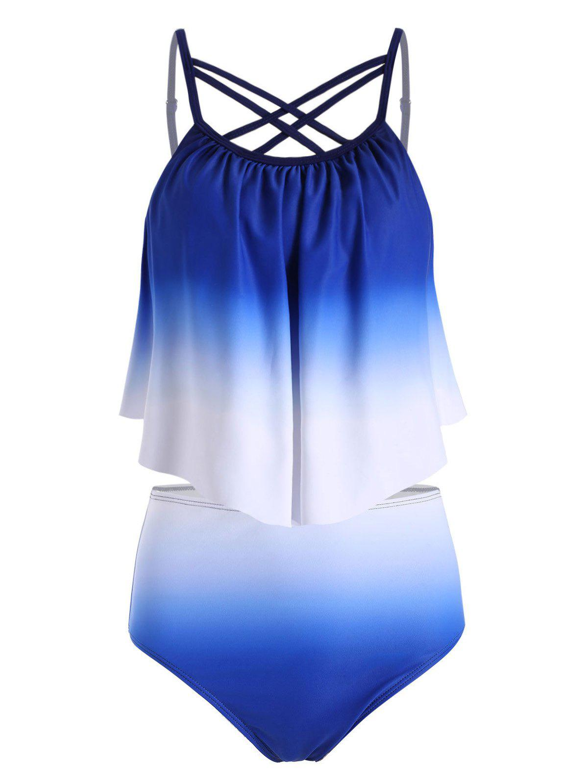 Shops Ombre High Waisted Strappy Tankini Swimwear