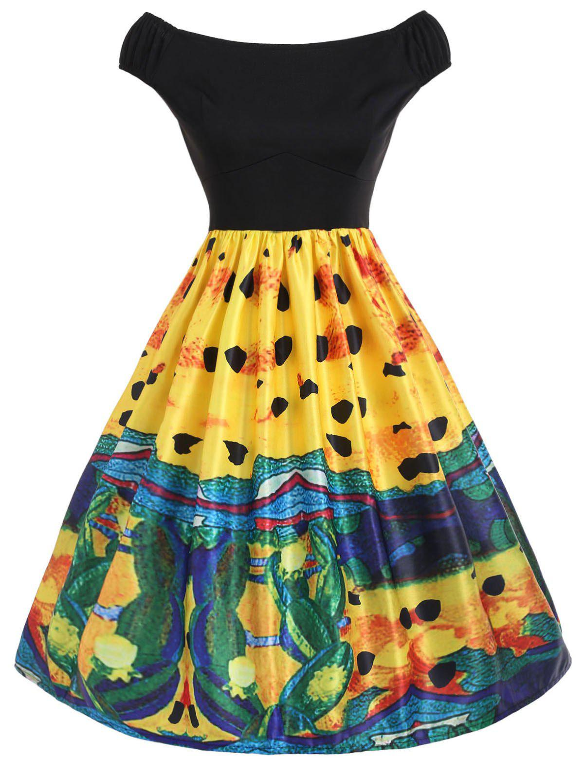Discount Abstract Print A Line Dress
