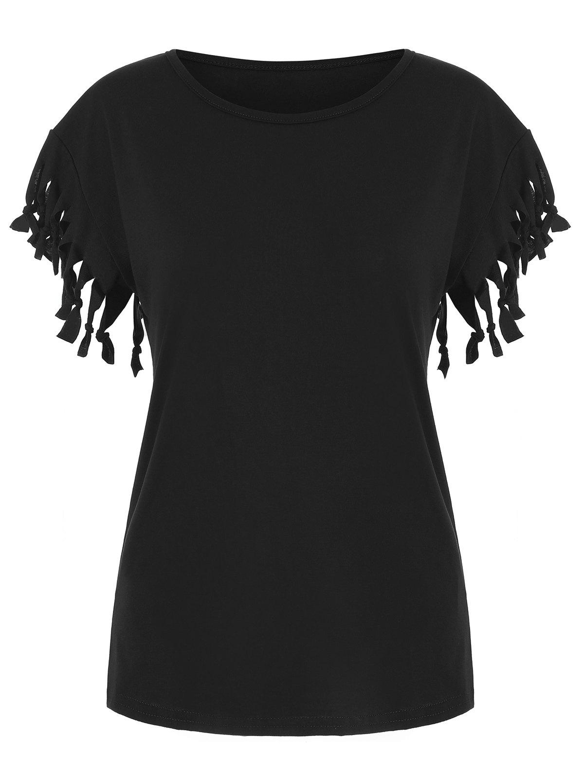 Latest Fringed Solid Casual T-shirt