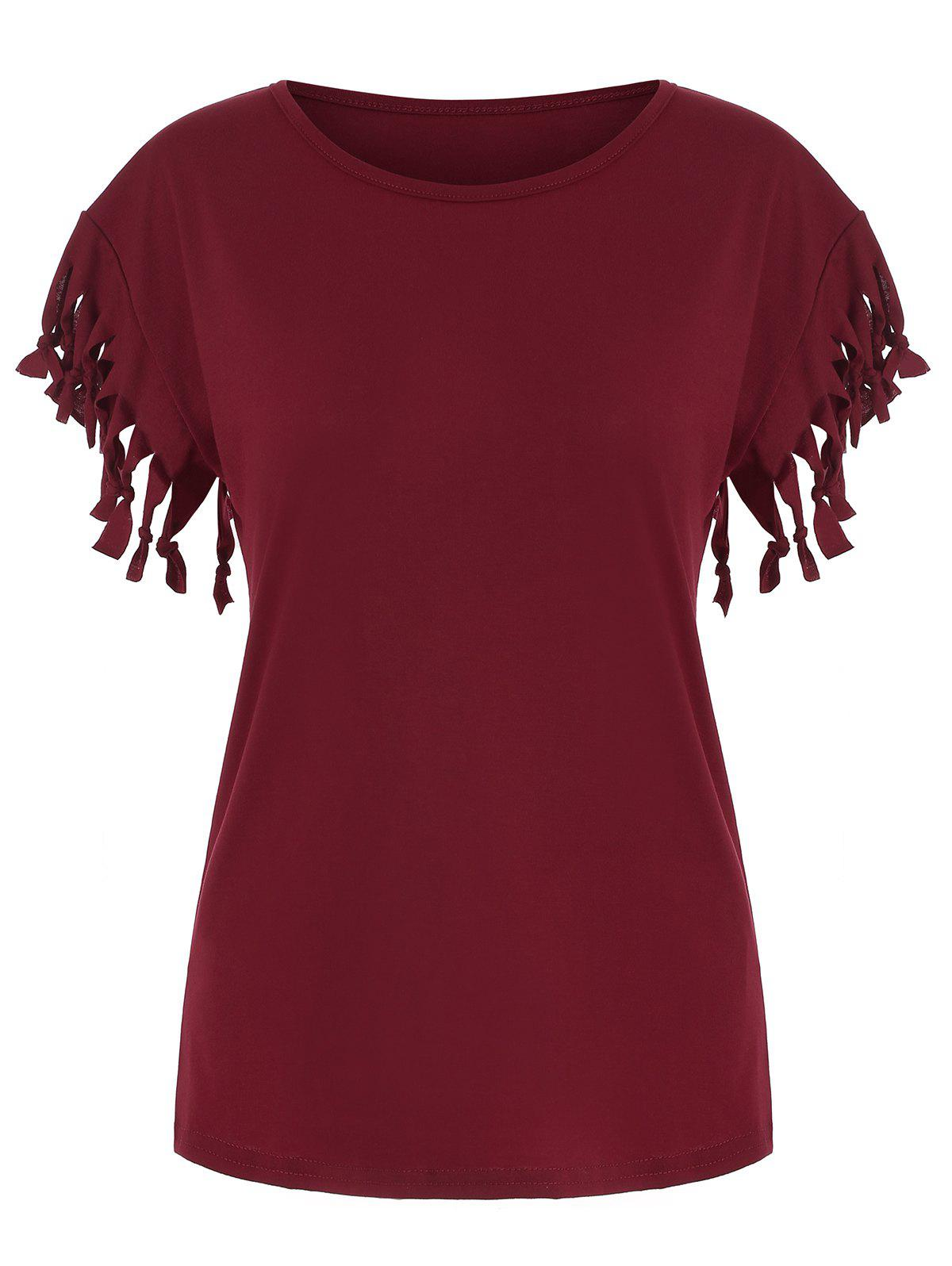 Shop Fringed Solid Casual T-shirt