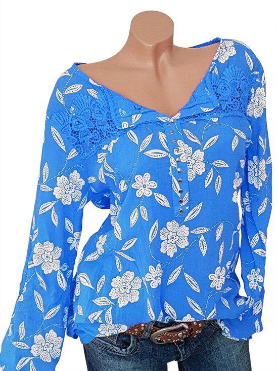 Outfits Plus Size Lace Crochet Chiffon Studded Floral Blouse