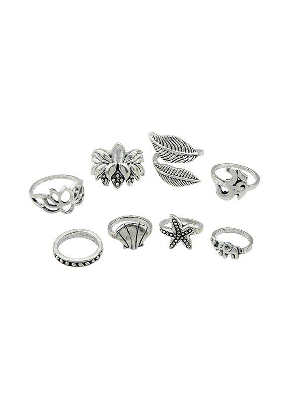 Trendy 8Pcs Starfish Shell Lotus Leaf Ring Set