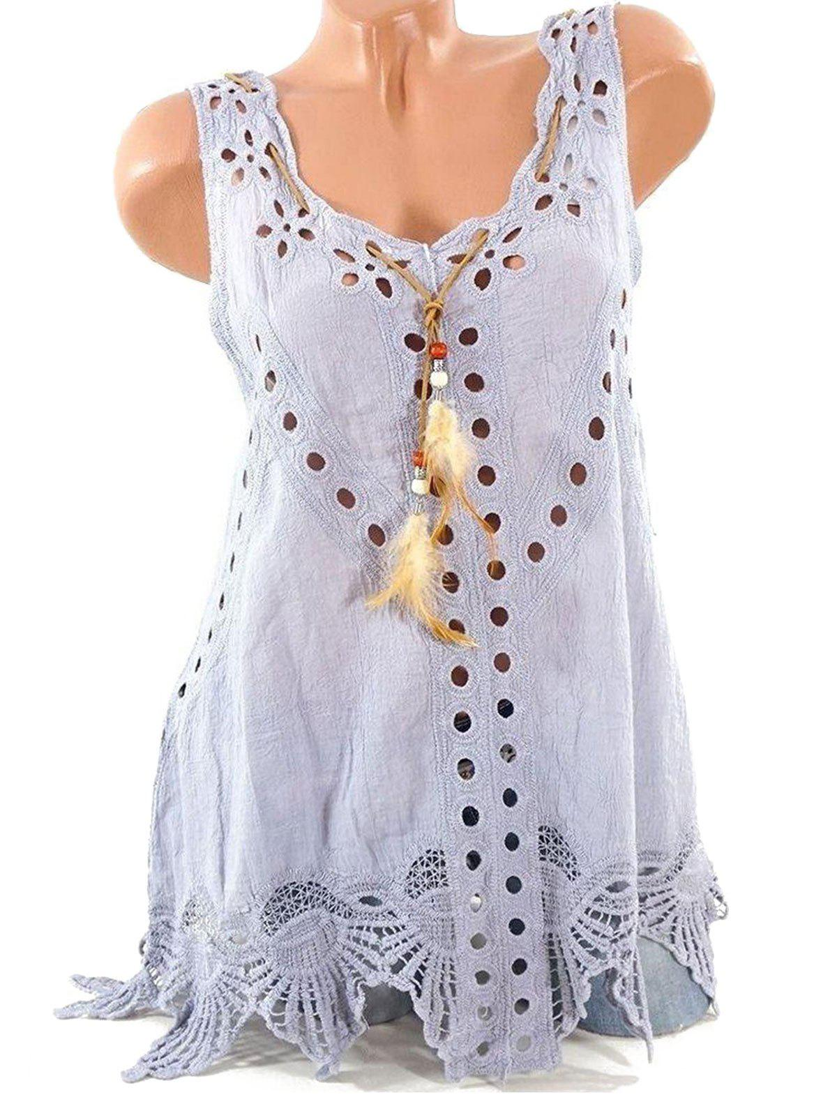 Buy Hollow Out Feather Embellished Lace Panel Tank Top