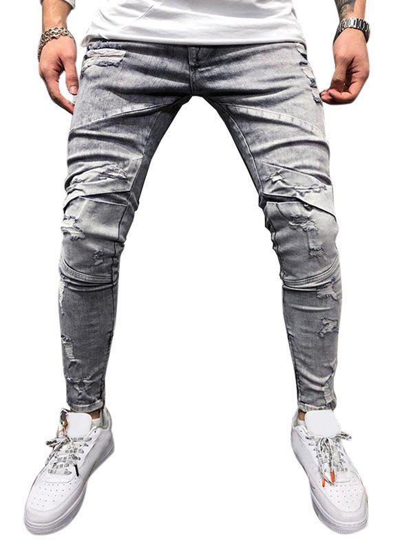 Buy Zipper Decoration Ripped Casual Jeans