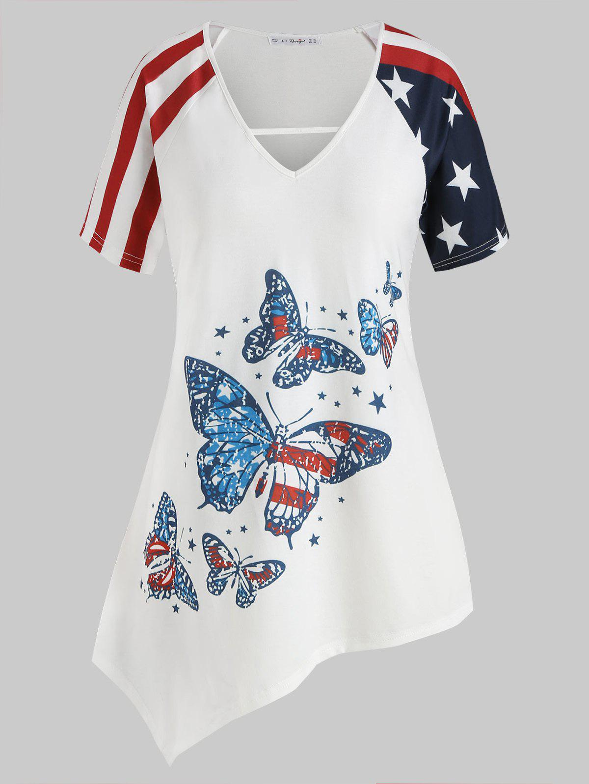 Store Plus Size American Flag Butterfly Print Asymmetrical Tunic