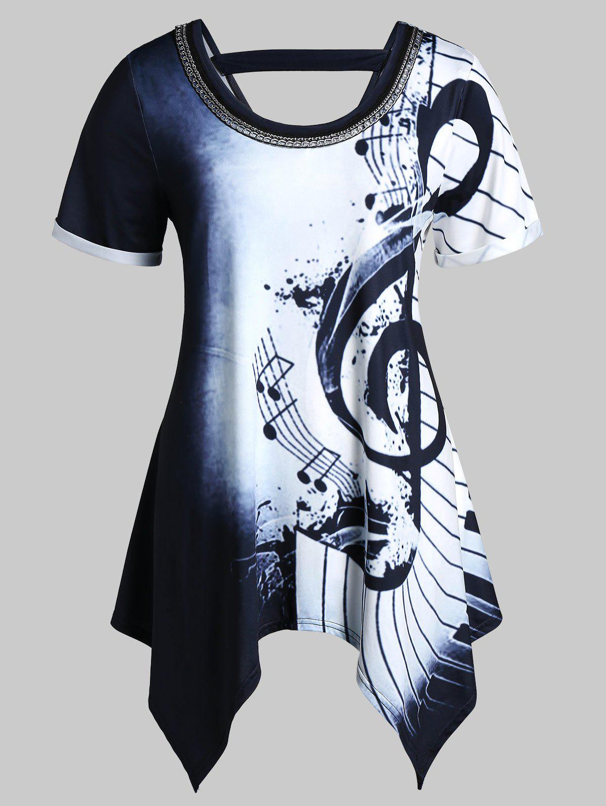 Fashion Plus Size Musical Notes Print Handkerchief Chains Embellished Tee