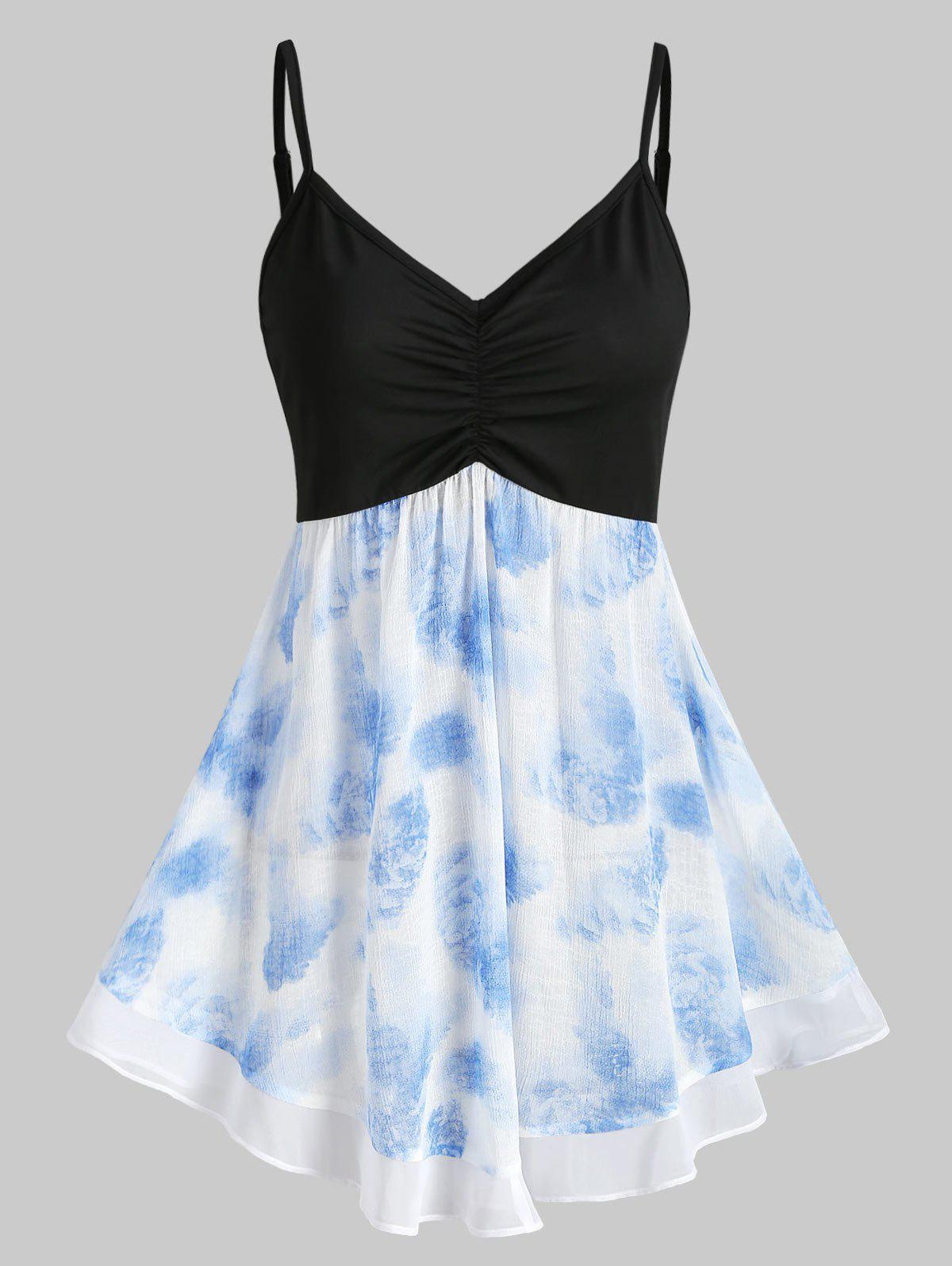 Fashion Contrast Printed Ruched A Line Cami Top