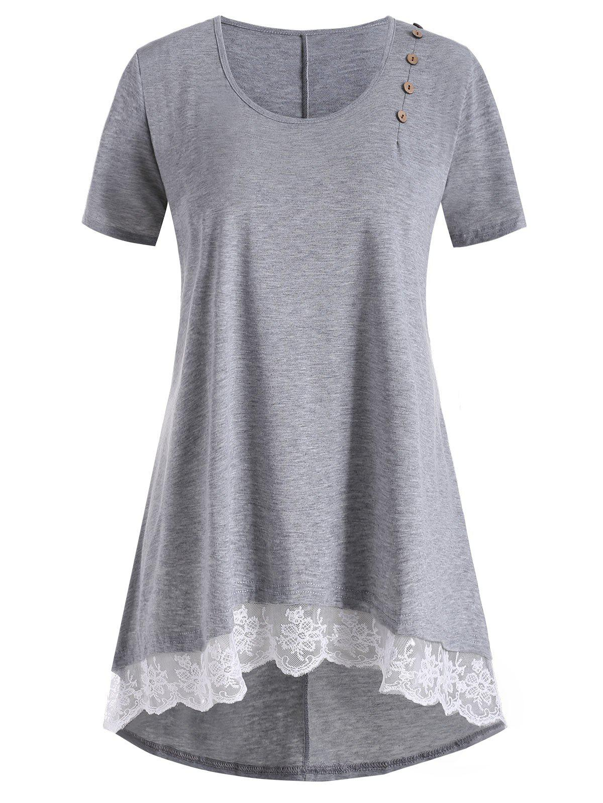 Outfits Plus Size High Low Lace Trim Tunic T-shirt