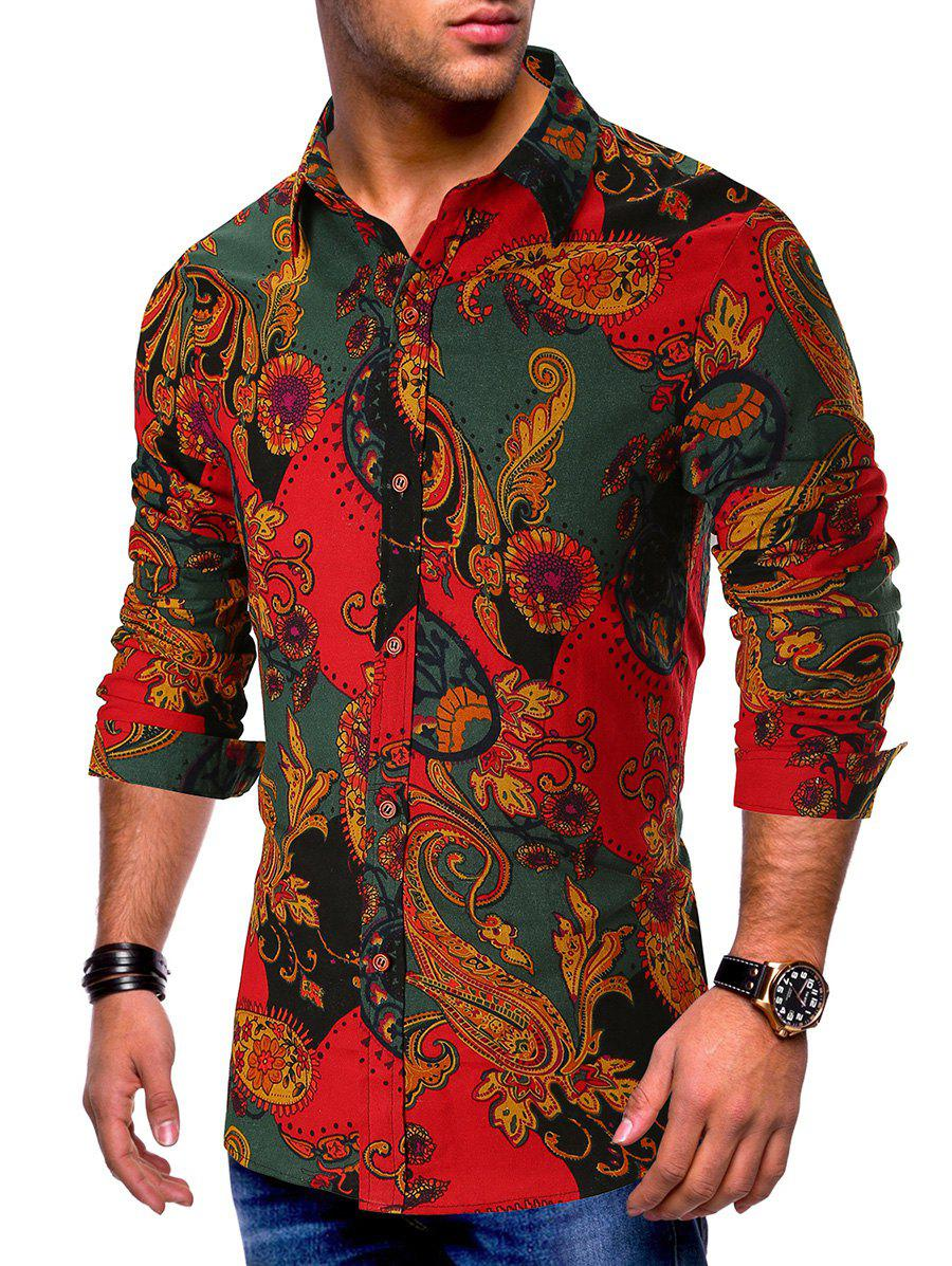 Chic Long Sleeves Flower Paisley Print Button Shirt