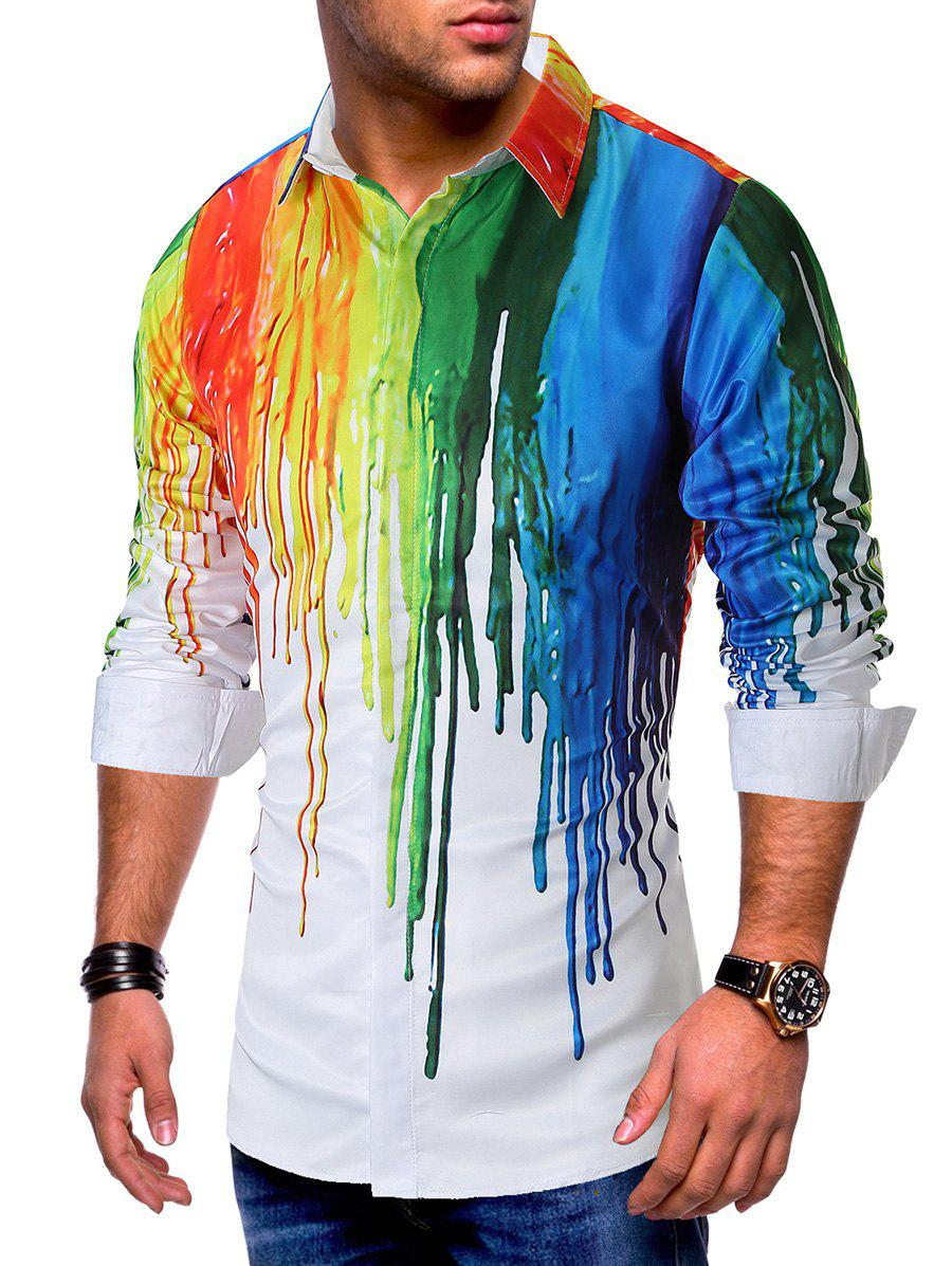 Colorful Painting Splatter Print Long Sleeves Casual Shirt фото