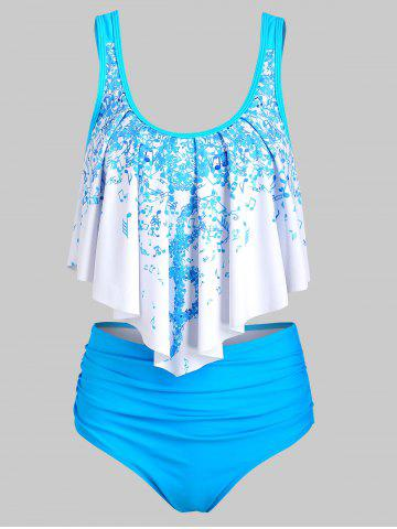 Musical Note Flounce Tummy Control Tankini Swimsuit