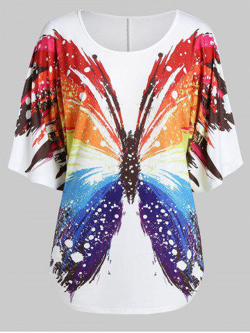 Plus Size Butterfly Print Round Collar Tunic T Shirt