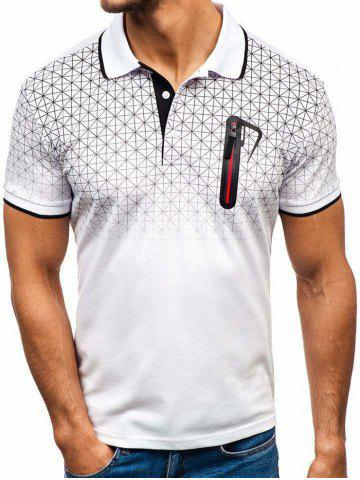 Shirt Collar Faux Pocket Geometric Print T Shirt