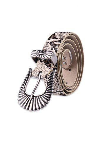 Carved Retro Buckle Snakeskin Print PU Leather Belt