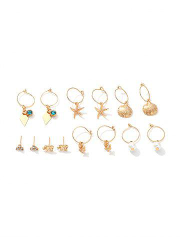 7Pairs Starfish Shell Floral Earrings Set