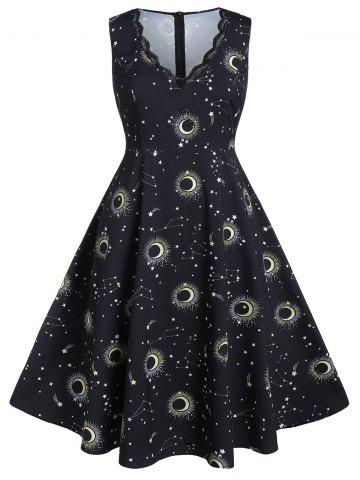 Plus Size Moon and Star Print Scalloped A Line Dress