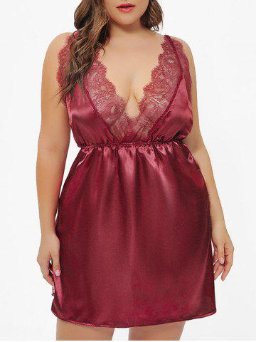 Slit Lace Panel Crisscross Plus Size Satin Babydoll With T Back