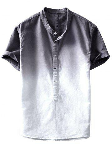 Ombre Stand Collar Half Button Shirt