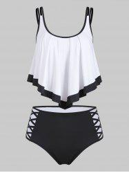 Color Block Criss Cross Flounce Tankini Swimwear -