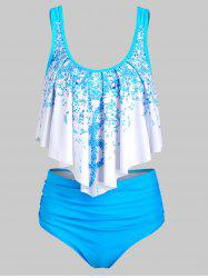 Musical Note Flounce Tummy Control Tankini Swimsuit -