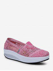 Flowers Pattern Hollow Out Design Slip On Shoes -