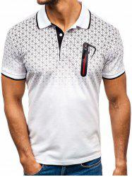 Shirt Collar Faux Pocket Geometric Print T Shirt -