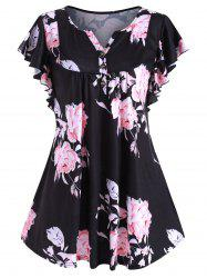 Flower Print Buttoned Notched Longline Tee -