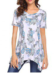 Paisley Print Asymmetrical Short Sleeve T Shirt -