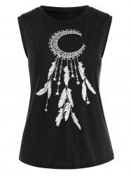 Abstract Moon and Feather Graphic Tank Top -