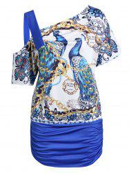 Plus Size Peacock Chains Print Skew Collar Ruched Tunic Tee -