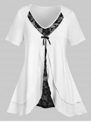 Plus Size Split Overlap Lace Panel Tunic T-shirt -
