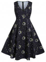 Plus Size Moon and Star Print Scalloped A Line Dress -