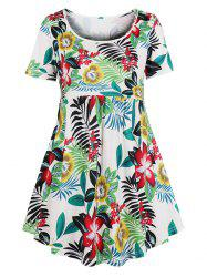 Longline Floral Curved Plus Size Top -