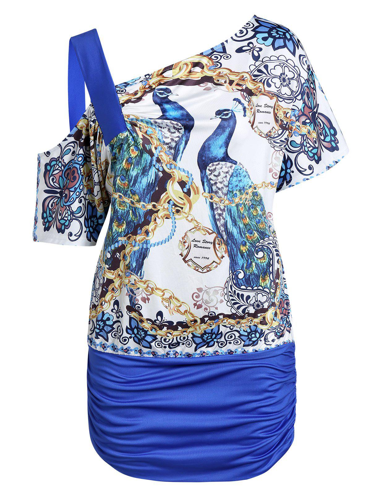 Unique Plus Size Peacock Chains Print Skew Collar Ruched Tunic Tee