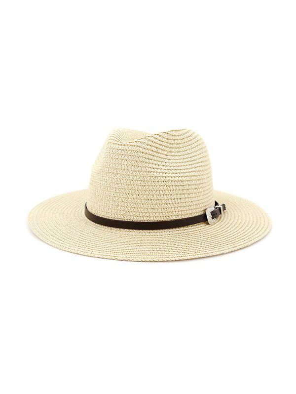 Discount Belt Embellished Straw Outdoor Jazz Beach Hat