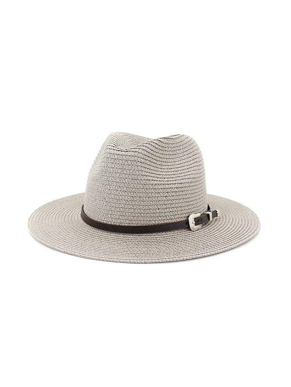 Hot Belt Embellished Straw Outdoor Jazz Beach Hat