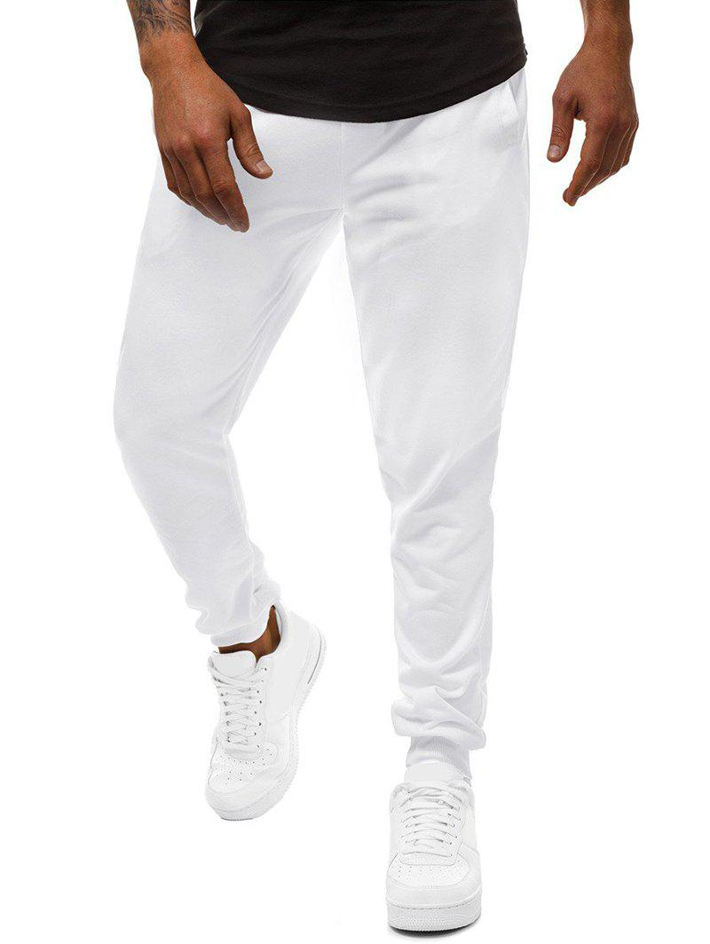 Side Pockets Drawstring Solid Color Jogger Pants, White