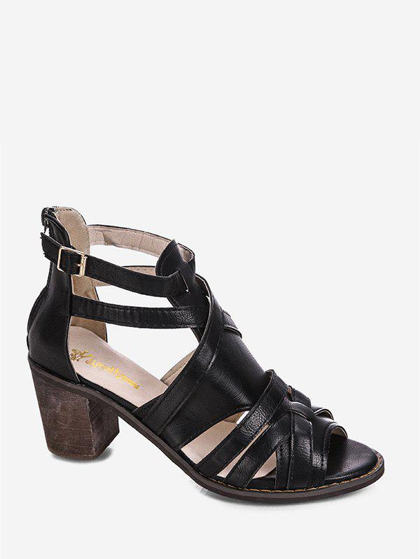 Latest Chunky Heel Peep Toe Casual Sandals