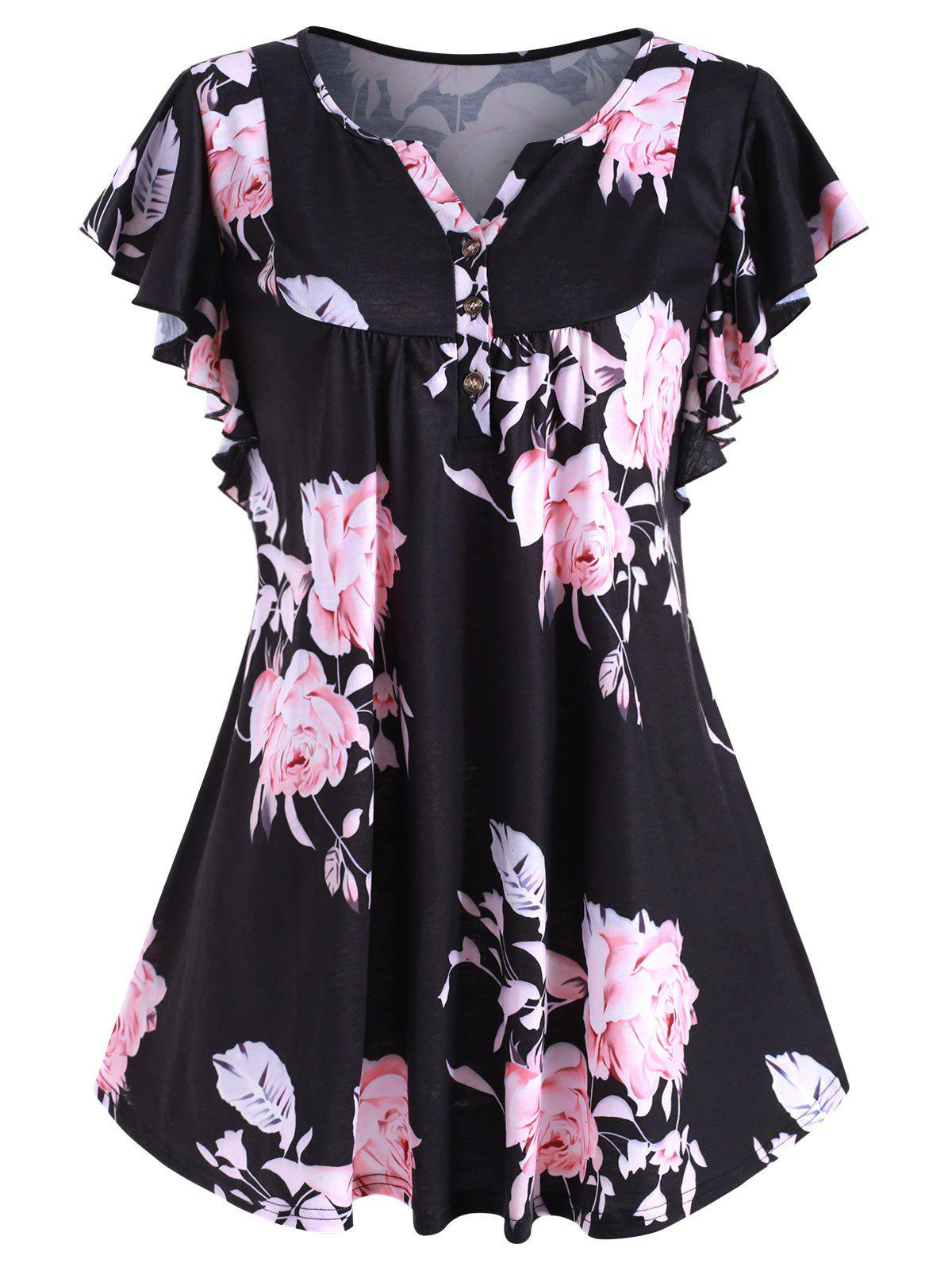 Sale Flower Print Buttoned Notched Longline Tee
