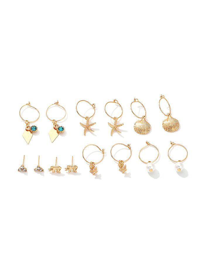 Outfits 7Pairs Starfish Shell Floral Earrings Set