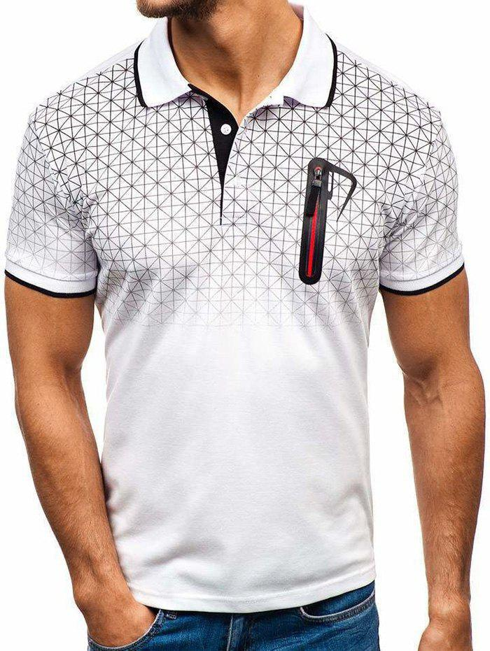 Discount Shirt Collar Faux Pocket Geometric Print T Shirt