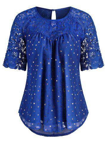 Round Neck Lace Panel Star Moon Blouse