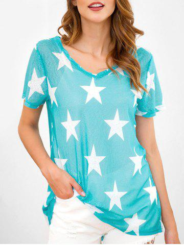 Star Print Short Sleeve V Neck T-shirt