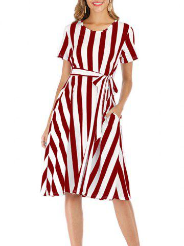 Striped Short Sleeve Pocket Dress