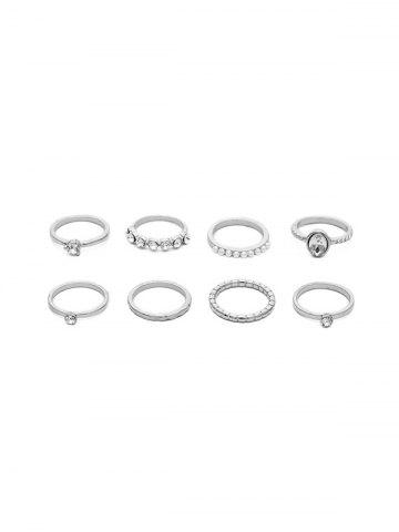 7 Piece Artificial Pearl Faux Diamond Thin Ring Set