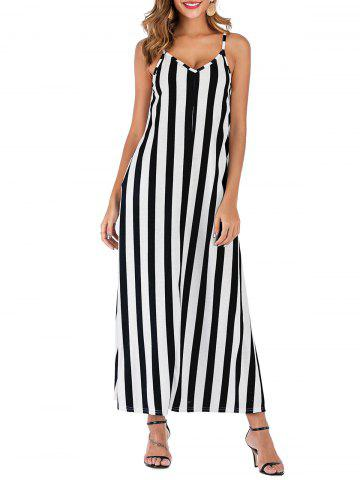 Striped Sleeveless Pocket Casual Dress