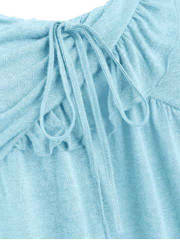 Plus Size Tie Marled Ruffle Tank Top, Robin egg blue