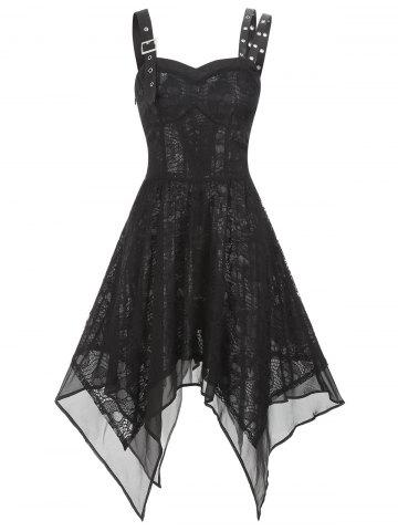 Lace Buckle Grommet Asymmetrical Handkerchief Dress