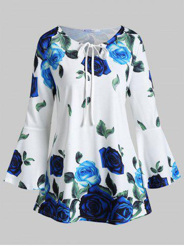 Plus Size Flare Sleeve Front Tie Floral T-shirt