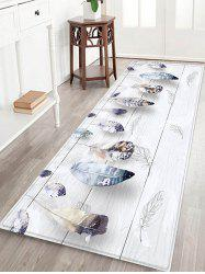 Wooden Board Feather Pattern Flannel Water Absorption Area Rug -